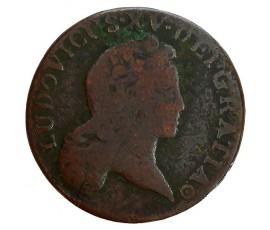 Monnaie, France , 1/2 sol au buste enfantin, Louis XV, Cuivre, 1722, Bordeaux (K), P11302