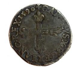 Monnaie, France , 1/4 écu croix de face, Charles X - Cardinal de Bourbon, Argent, 1590, Nantes (T), P11328