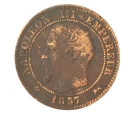 Monnaie, France , 2 centimes, Napoléon III, Bronze, 1857, Lyon (D), P10368
