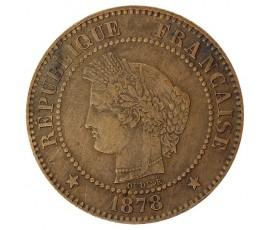 Monnaie, France , 2 centimes Cérès, IIIème République, Bronze, 1878, Bordeaux (K), P10381