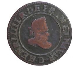Monnaie, France , Double tournois, Henri IV, Cuivre, 1607, Lyon (D), P11435