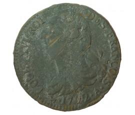 Monnaie, France , 2 sols  type François, Louis XVI, Cuivre ou métal de cloche, 1792, Paris (A), P10502