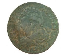 Monnaie, France , 2 sols  type François, Louis XVI, Cuivre ou métal de cloche, 1792, Lille (W), P10503