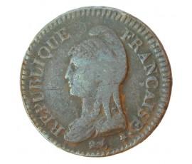 Monnaie, France , Décime Dupré, Directoire, Bronze, An 7, Lyon (D), P10509