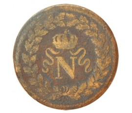 """Monnaie, France , Décime au """"N"""" couronné, Napoléon Ier, Bronze, 1814, Strasbourg (BB), P10520"""