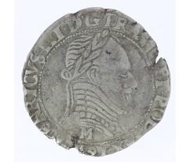 Monnaie, France , 1/2 franc au col plat, Henri III (La Ligue), Argent, 1591, Toulouse (M), P11824