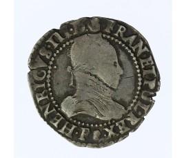 Monnaie, France , 1/2 franc  au col plat, Henri III, Argent, 1587, Dijon (P), P11862