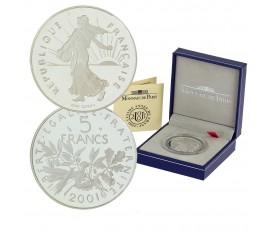Monnaie, France , 5 francs BE semeuse, Monnaie de Paris, Argent, 2001, Pessac, P10687