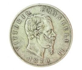 Monnaie, Italie , 5 lire, Victor Emmanuel II, Argent, 1870, Rome (R), P10727