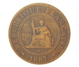 Monnaie, Colonies, 1 centième, Indochine, Bronze, 1887, Paris (A), P10745