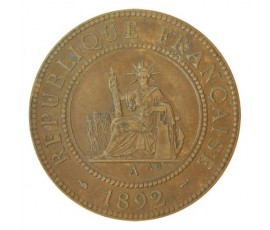 Monnaie, Colonies, 1 centième, Indochine, Bronze, 1892, Paris (A), P10747