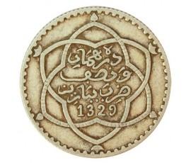 Monnaie, Maroc, 2 1/2 dirhams, Moulay Hafid I, Argent, 1329, Paris, P10768