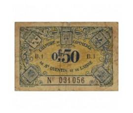 Billet, France , 50 Centimes Chambre de Commerce de St Quentin et de L'Aisne, 30/06/1925, B10027