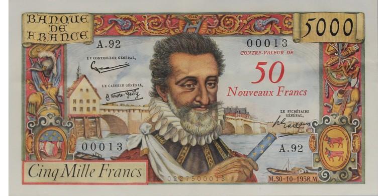 Billet, France , 50 Nf Sur 5000 Francs Henri IV, 30/10/1958, B10121