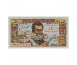 Billet, France , 50 Nf Sur 5000 Francs Henri IV, 30/10/1958, B10122