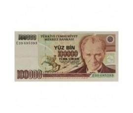 Billet, Turquie, 100 000 Lira  Président Kemel Ataturk, 1991, B10268