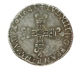 Monnaie, France , 1/4 écu à la croix fleurdelisee, Louis XIII, Argent, 1643, Limoges, P10051
