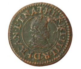 Monnaie, France , Denier tournois, Henri IV, Cuivre, 1610, Nantes (T), P10143