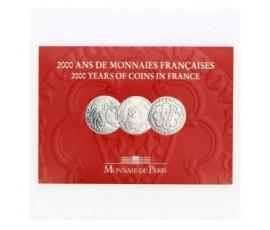 France, Livret BU 2000, 3 pièces, 5 Francs - 2000 ans de monnaies françaises 1/3, C10080