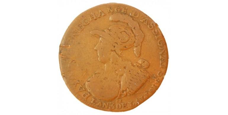 Monnaie, France , Monnaie de confiance de 6 blancs, Montagny, Cuivre, 1791, Paris, P11046