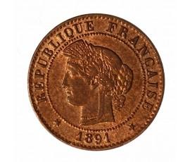 Monnaie, France , 1 centime Cérès, IIIème République, Bronze, 1891, Paris (A), P11055