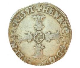 Monnaie, France , 1/4 écu croix feuillue de face, Henri IV, Argent, 1591, Bayonne (L), P11078