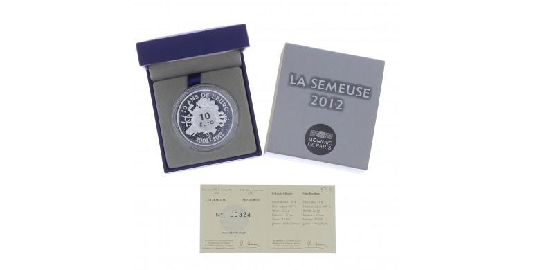 Monnaie, France, 10 Euros BE 10 ans des pièces et billets euros, Monnaie de Paris, Argent, 2012, Pessac, P13079