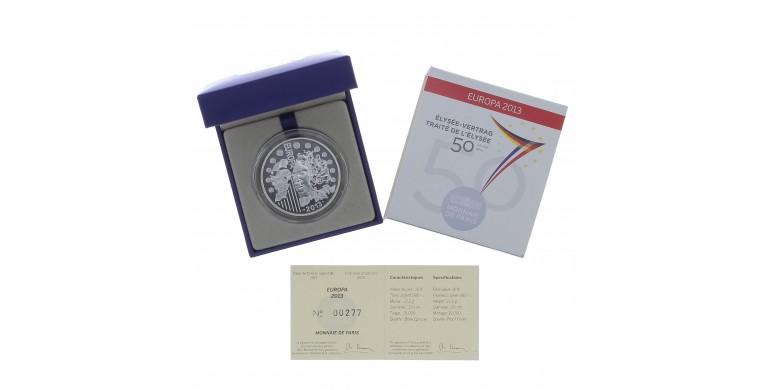 Monnaie, France, 10 Euros BE 50 ans du Traité de l'Elysée, Monnaie de Paris, Argent, 2013, Pessac, P13110