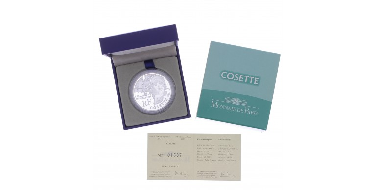 """Monnaie, France, 10 Euros BE Cosette (""""Les misérables"""" de Victor Hugo), Monnaie de Paris, Argent, 2011, Pessac, P13136"""