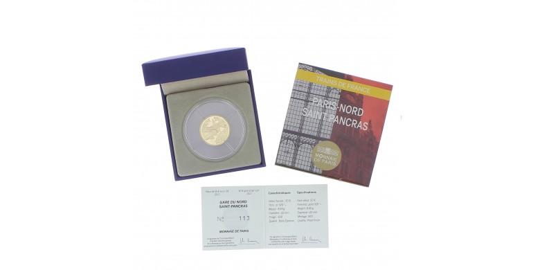 Monnaie, France, 1/4 Once 50 Euros BE Gares du nord et St Pancras, le Shuttle et Eurostar,  Or, 2013, Pessac, P13153